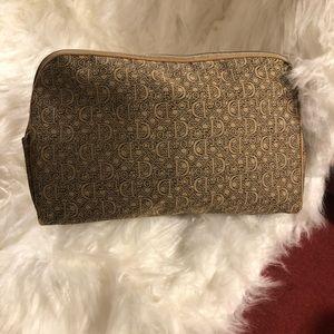 Dior tan & black cosmetic/toiletry bag